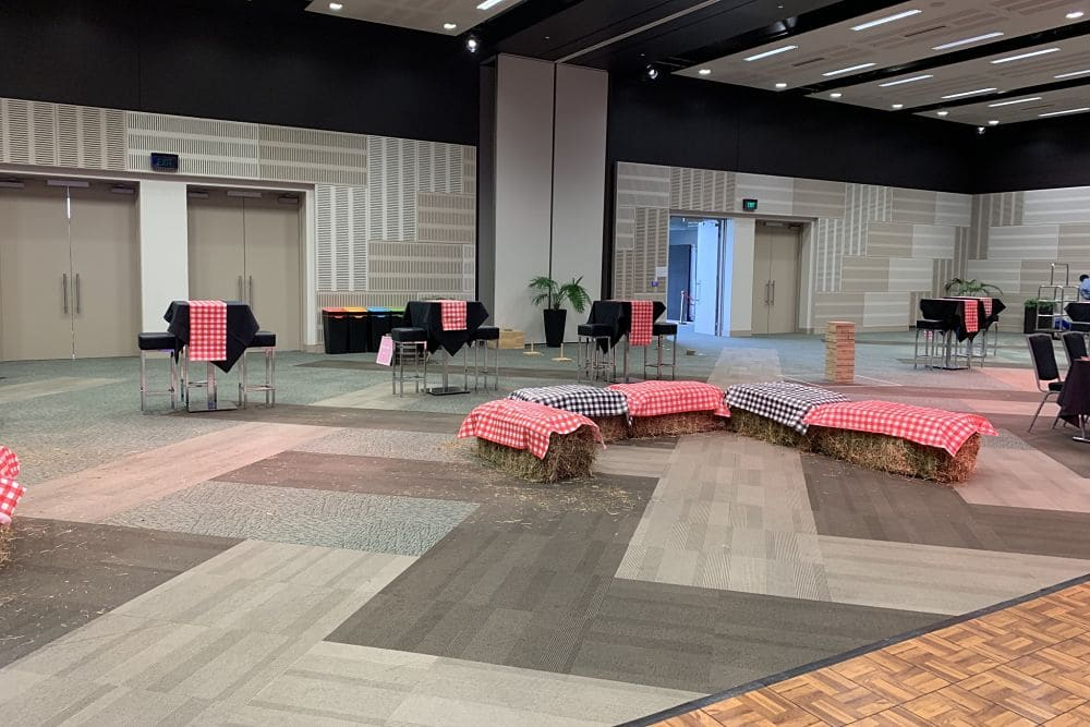 Heaphy Function room at Claudelands Event Centre - Hay Bales for Seating