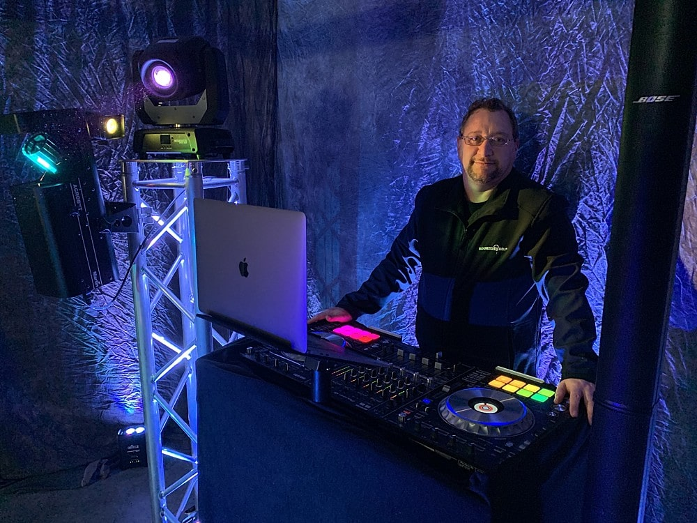 The Dj sound equipment set up includes Bose L1 sound system and chauvet lighting equipment and pioneer DDJ-SZ2 DJ turntables