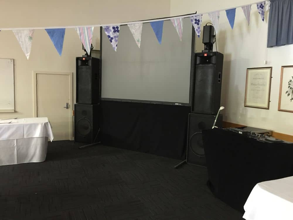 Hamilton Gardens Pavilion - Chartwell Room DJ Equipment with large video screen