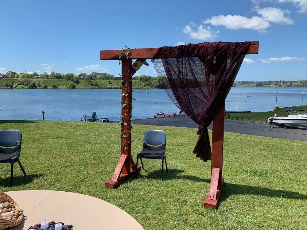 Sir Don Rowlands Centre - Wedding Ceremony setting overlooking lake karapiro