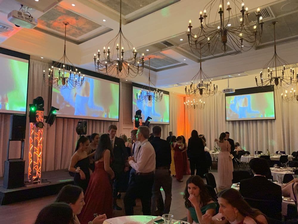 The Plymouth International Hotel - Students dancing at school ball - DJ and 4 Video Screens