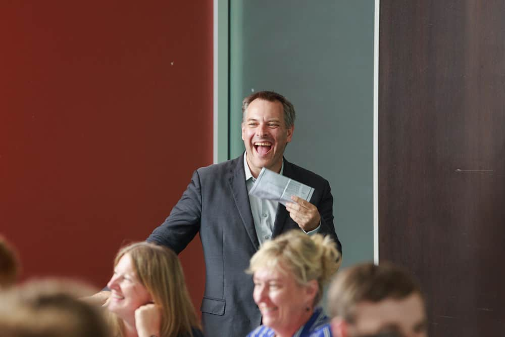Awapuni Racing Function Centre - MC Scott Laughing at guests speeches