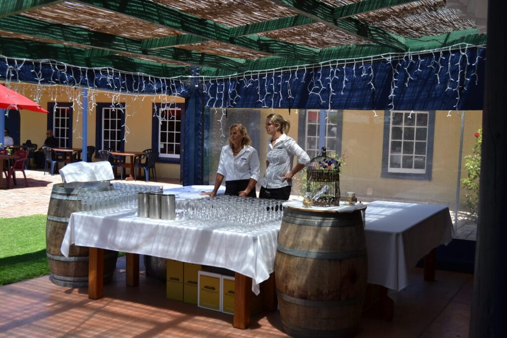 Brookfields Vineyards - Bar staff outside barr