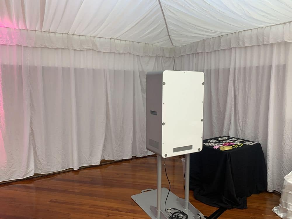 Photo booth set up in Newbury Hall Palmerston North for a wedding